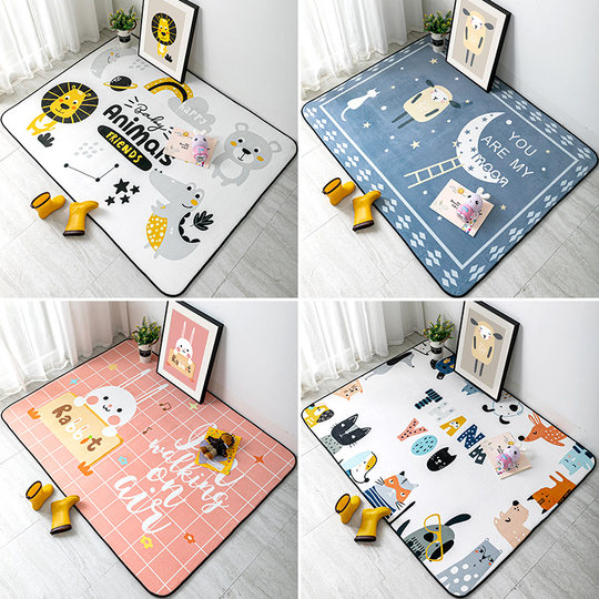 Nordic cartoon carpet bedroom full of cute children's room large carpet climbing mat simple ins wind bedside carpet