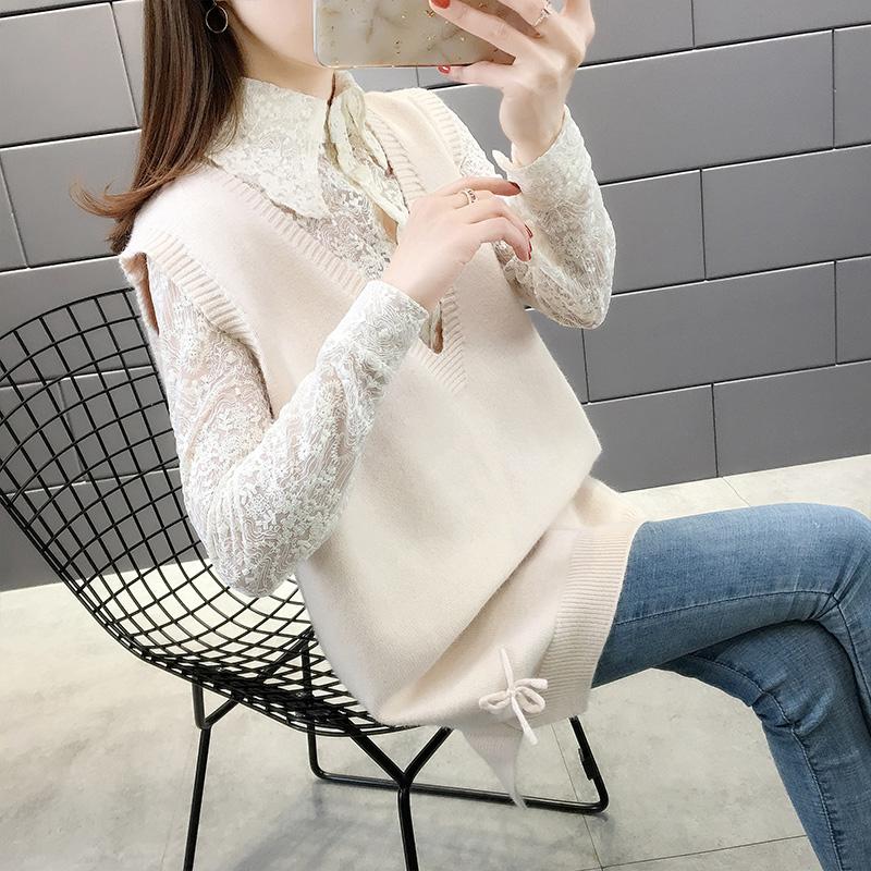 春季2020新款蕾丝衬衫女士毛衣两件套装宽松针织打底衫洋气中长款