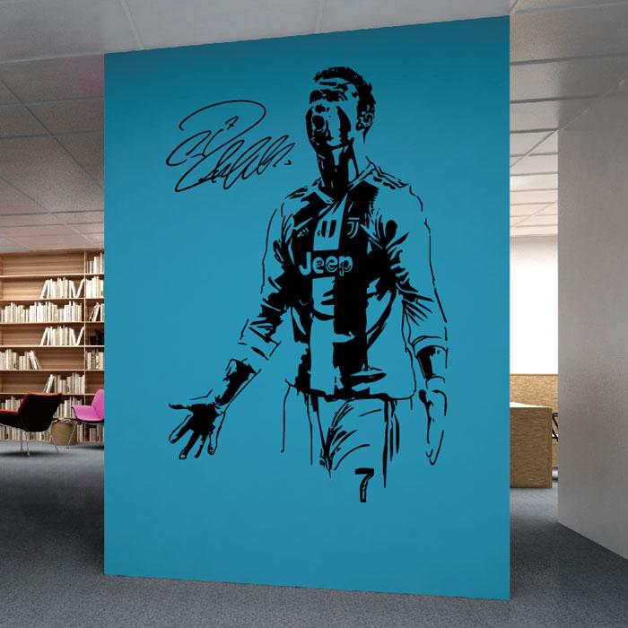 欧洲足球明星墙贴皇马尤文图斯c罗贴画寝室宿舍卧室装饰自粘贴纸