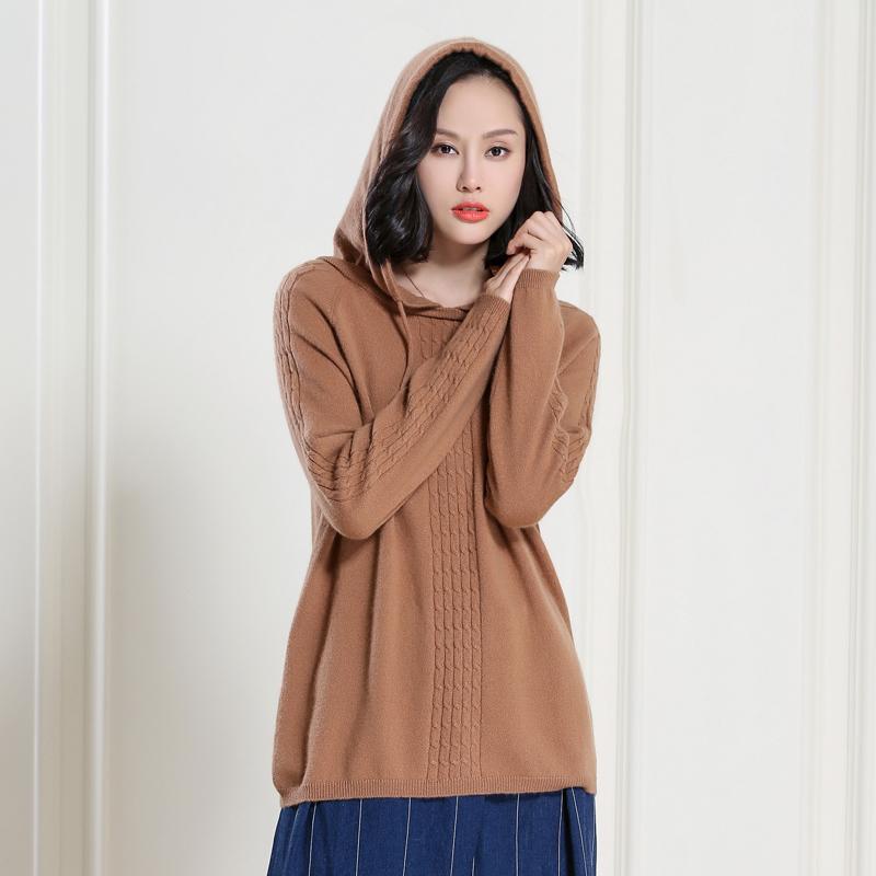 羊绒卫衣线衣款连帽套头羊毛女中外穿麻花针织衫秋冬季v羊绒薄毛衣