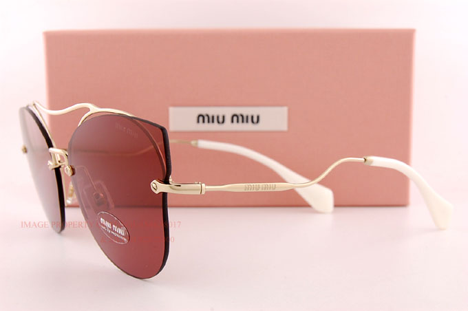 3892934f390 Brand New Miu Miu Sunglasses MU 52SS ZVN 0A0 Gold White Pink For ...