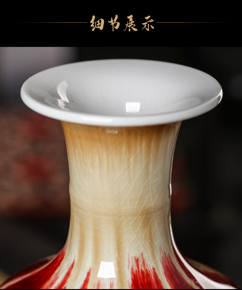 Modern Chinese style household wine sitting room adornment of jingdezhen ceramics up crack glaze vase furnishing articles by hand