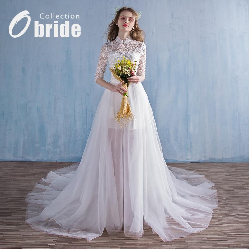 Obride2018 новый свадьба платья ретро департамент воротник долго продольный мазок краткое модель износ невеста бригада бить свет брак