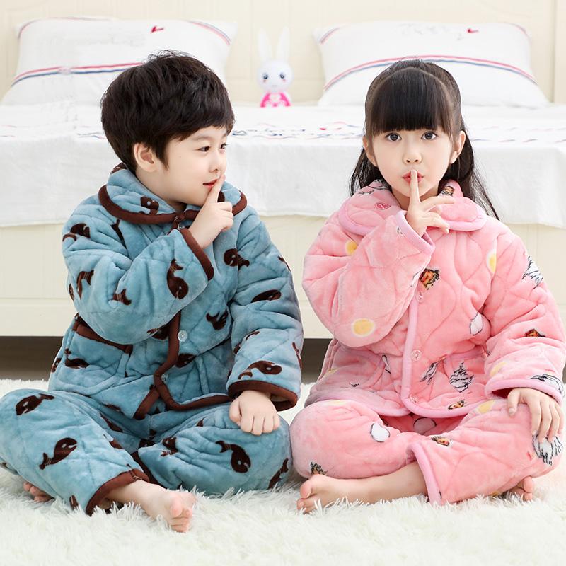 秋冬季珊瑚绒儿童睡衣法兰绒女童男童加厚款宝宝小孩子家居服男孩