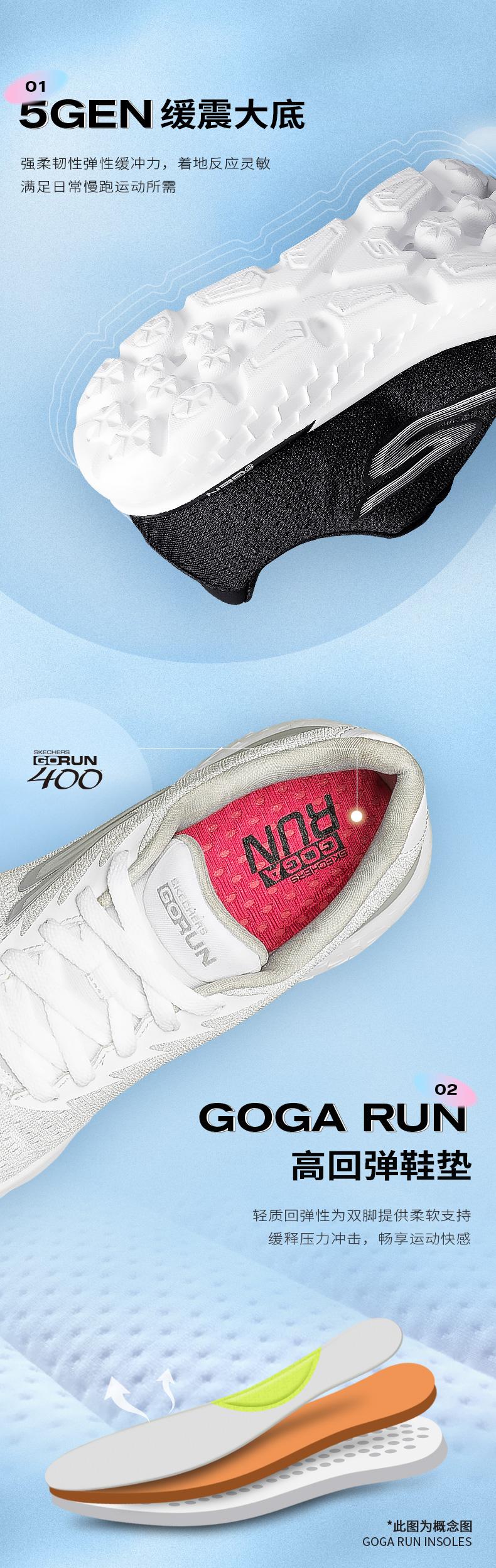 斯凯奇 Skechers Go Run 400 男女缓震跑步鞋 运动休闲鞋 图5