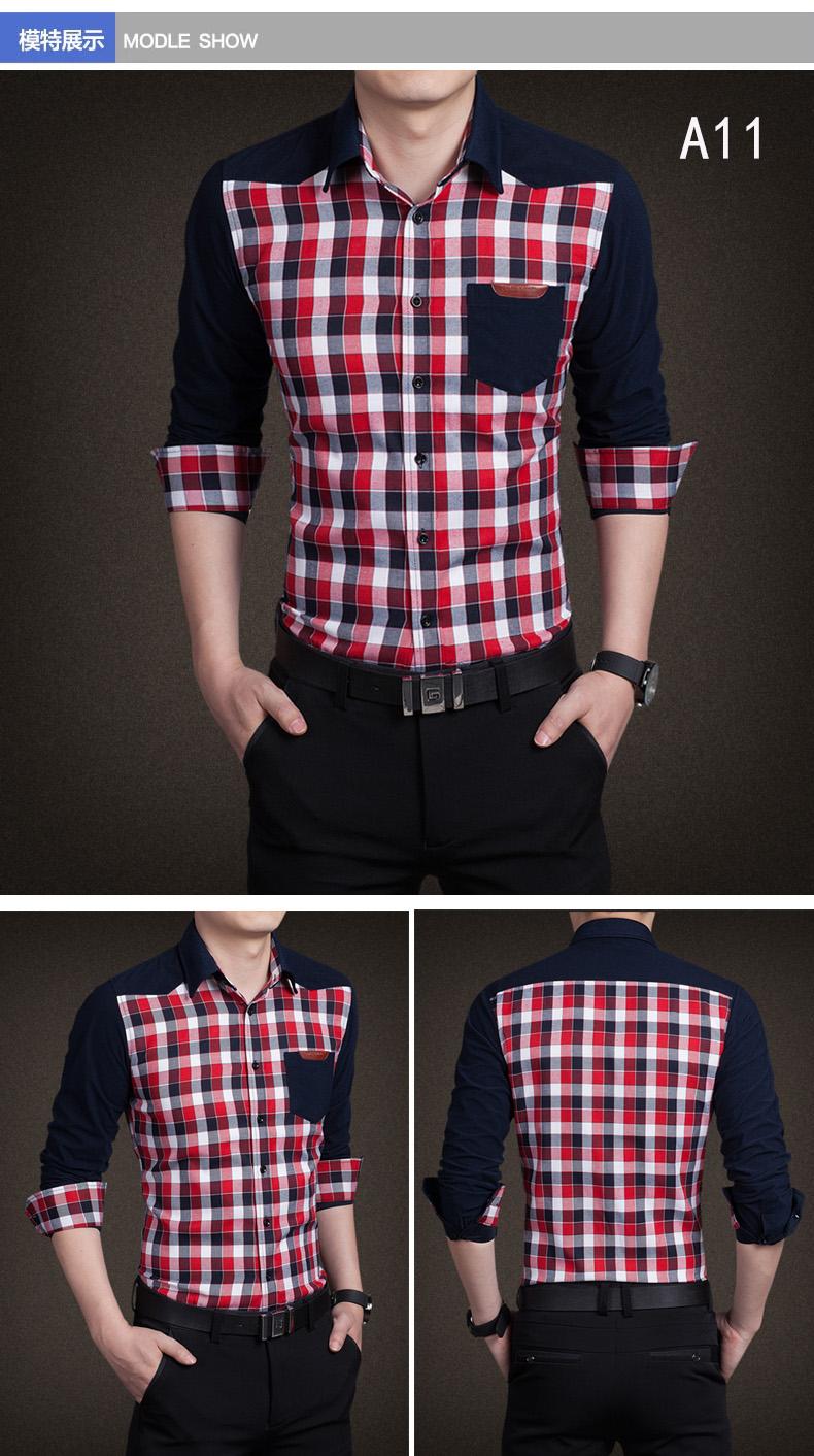 YMV spring new men's shirt long-sleeved teen thin Korean shirt slim casual stitching fashion shirt 47 Online shopping Bangladesh