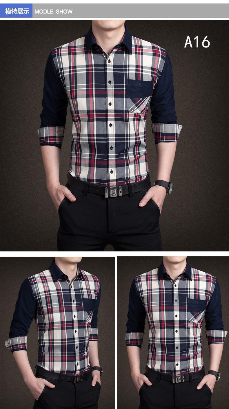 YMV spring new men's shirt long-sleeved teen thin Korean shirt slim casual stitching fashion shirt 51 Online shopping Bangladesh