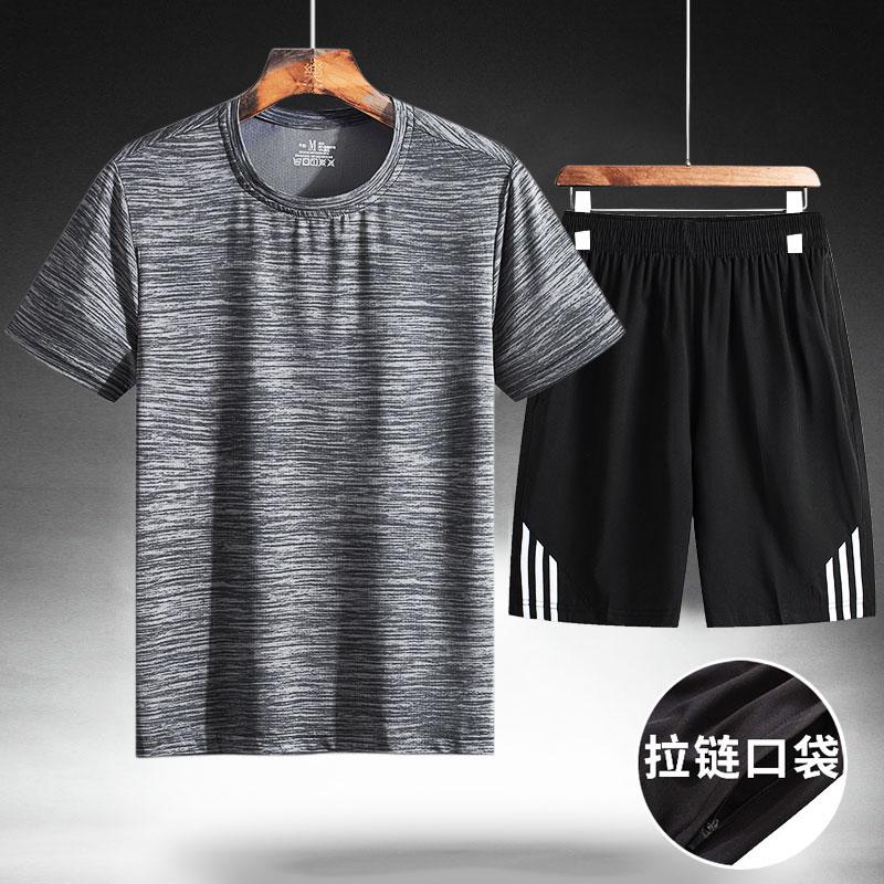 短袖t恤男新款上衣装2019冰丝夏装中老年人运动套装爸爸秋装长袖