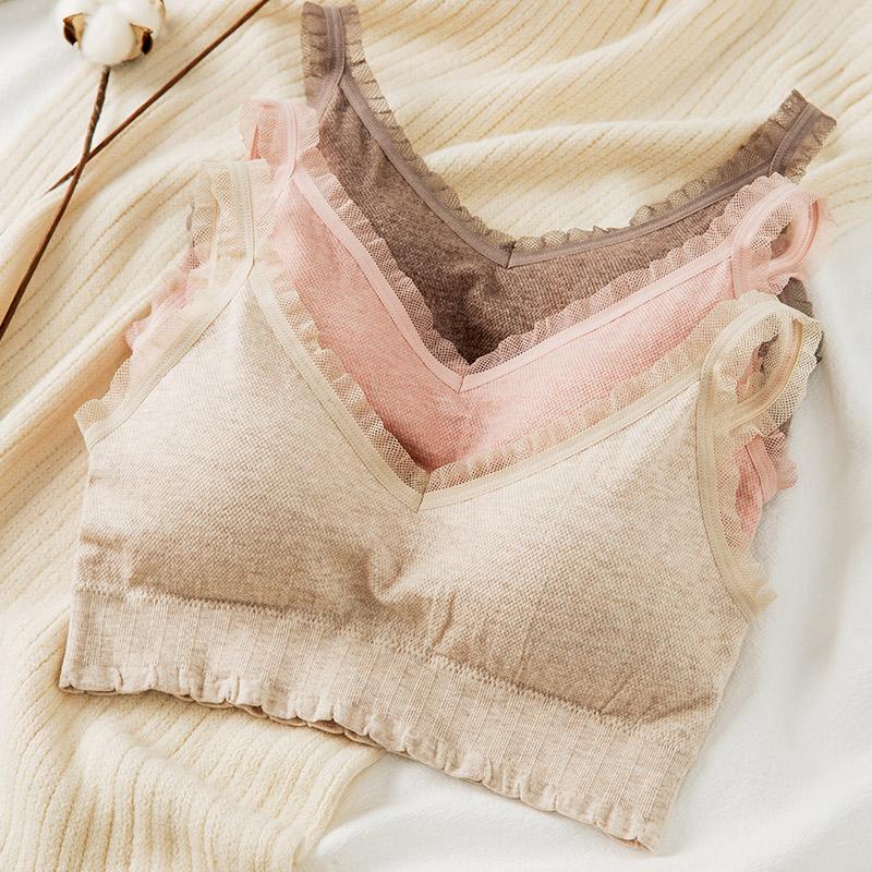 Đồ lót nữ không mặc áo ngực mỏng Cotton liền mạch Vest quấn ấm cúng Cô gái áo ngực - Áo ngực ren