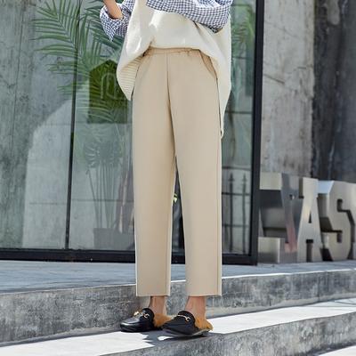 2019新款秋冬毛呢阔腿哈伦裤高腰垂感奶奶宽松显瘦直筒萝卜裤子女