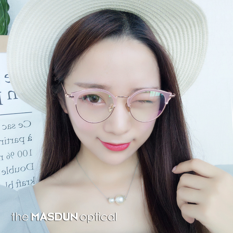 bbb242a3fc Retro Round half-frame glasses frame female Korean cat eye eyebrow art  myopia eyes pink small frame with a degree of simplicity