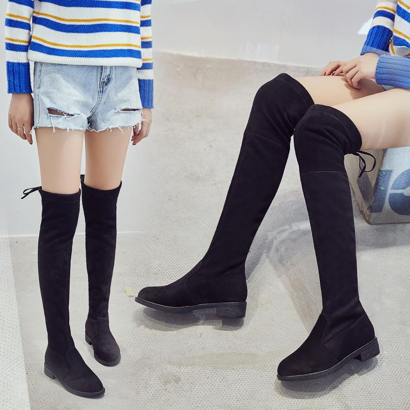 过膝长靴女靴子2017冬新款圆头高跟长筒靴显瘦弹力靴平底粗跟棉靴