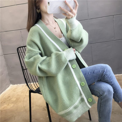 Knitting cardigan female 2021 new spring and autumn sweater over long jacket female loose Korean version of the lazy clothes women