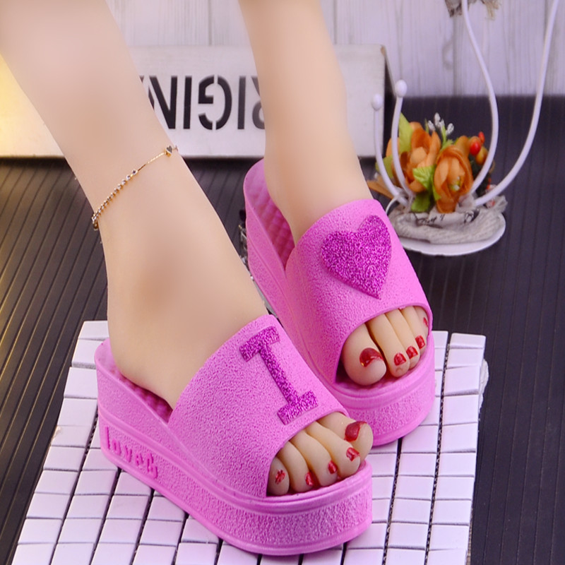 46f4b8bec90 Summer new Korean fashion heart-shaped muffin with wedge sandals and  slippers women's platform high-heeled slippers female fish mouth shoes
