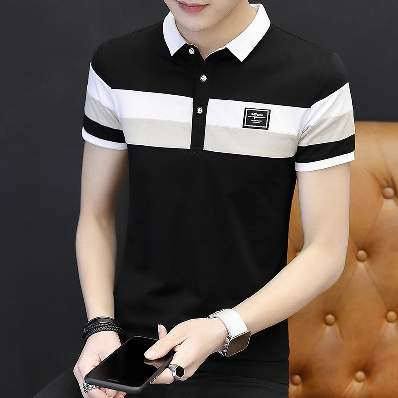 Men's short-sleeved t-shirt summer cotton lapel dress youth Korean version of the body workaround led men's wear with collar polo shirt tide