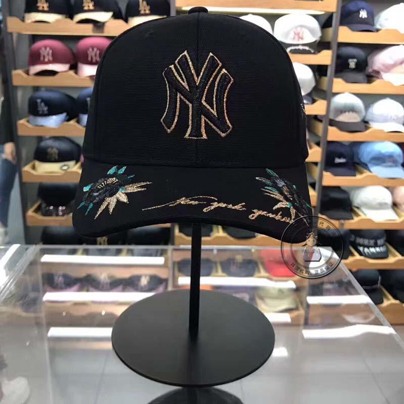 Покупать в южной корее MLB бейсболка фуражка черный кран алмаз вышивка цветы золотая этикетка NY крышка мужской и женщины любители