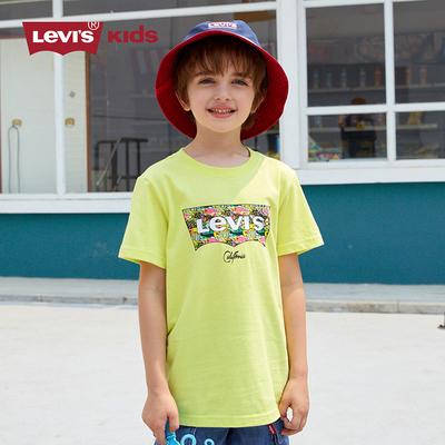 Levi's李维斯童装2021年夏新款男女童纯棉白色短袖T恤上衣打底衫