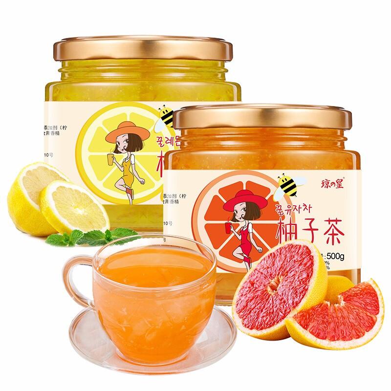 琼皇蜂蜜柚子柠檬茶1kg罐装冲水喝的饮品泡水冲饮冲泡水果茶酱