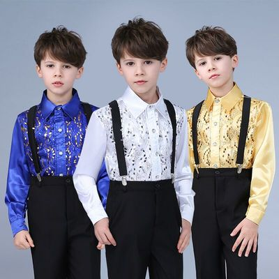 Children's sequins shirt dress chorus suit host clothes performance clothing