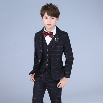 Children's Plaid Suit Piano Costume Flower Girl Dress Boy Suit Hosting Suit