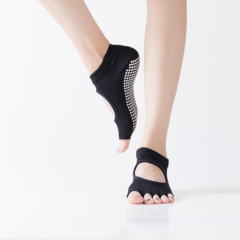Открытые носки йоги - черный