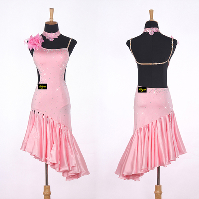 Sexy Lady Latin Dancing Dresses Pink Nice Quality Rhinestone Fashion Women Adult Professional Tango Ballroom Dancing Skirts