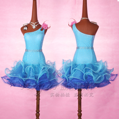 Latin Dance Dress Competition Dress Customized Exercise Dress Children Adult Performing Dress Ice and Snow Margin
