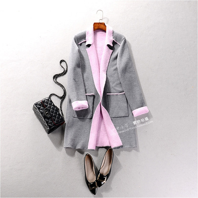 19437 New autumn and winter women's lapel long-sleeved pocket solid color long coat simple temperament wild