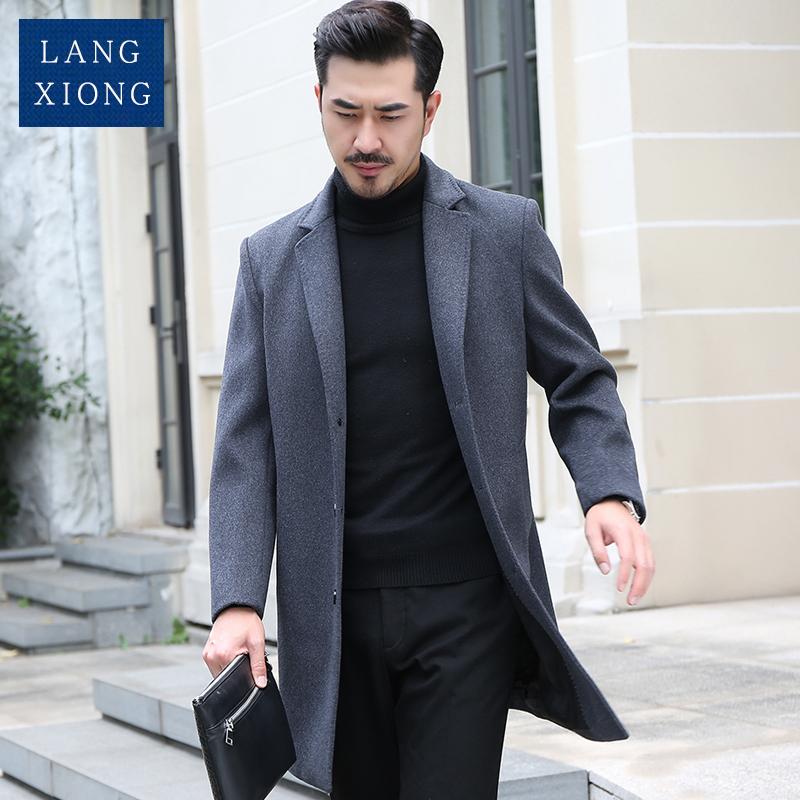 (用200元券)冬季修身加厚男中长款羊毛呢大衣