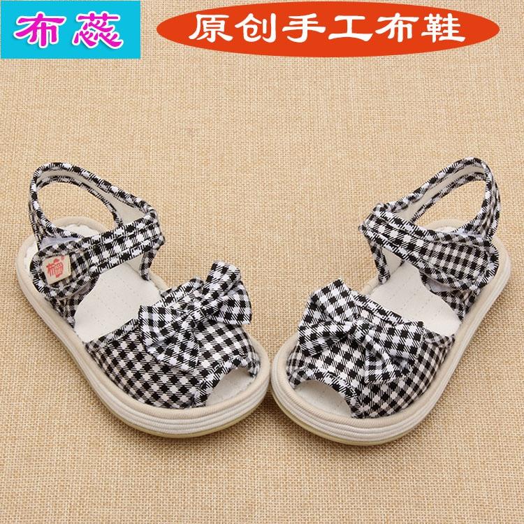 蝴蝶结L老北京手工布鞋宝宝儿童千层底布鞋夏款凉鞋幼儿园鞋女童