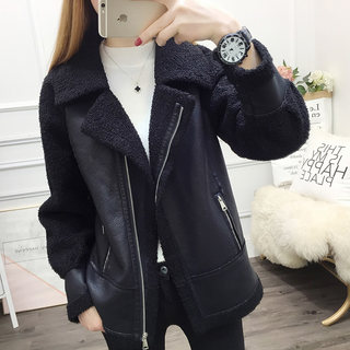 Autumn 2020 new lamb Miss Mao Pimao one large size women fall and winter coat female short jacket leather jacket