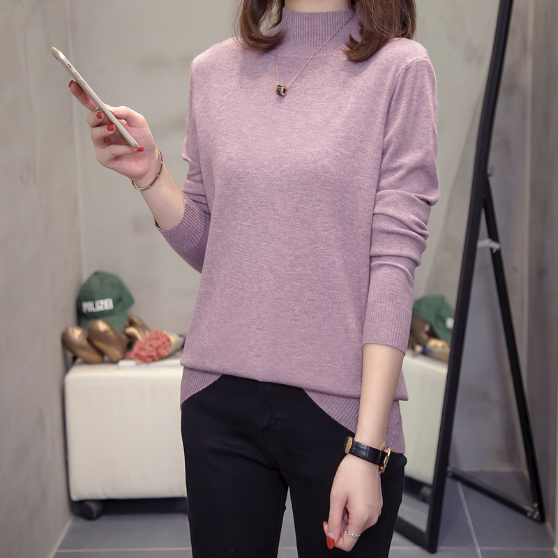 Large size women's spring 2020 new loose knit sweater in the long version of fat sister yangpai bottoming shirt 200 pounds