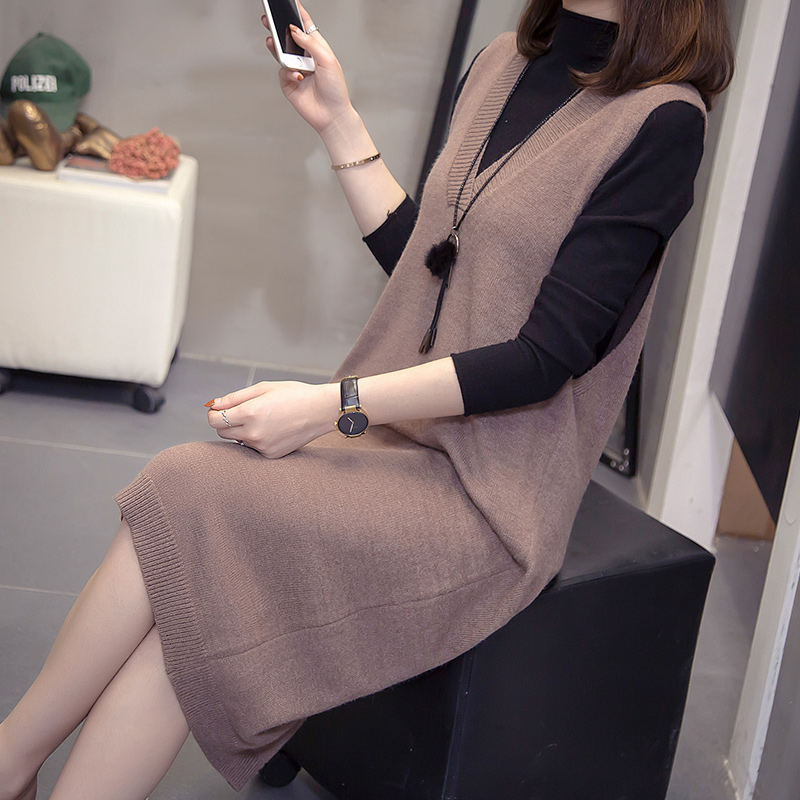 Large size women's autumn and winter loose knit dress in the long version of fat sister Yang sent thin base sweater suit
