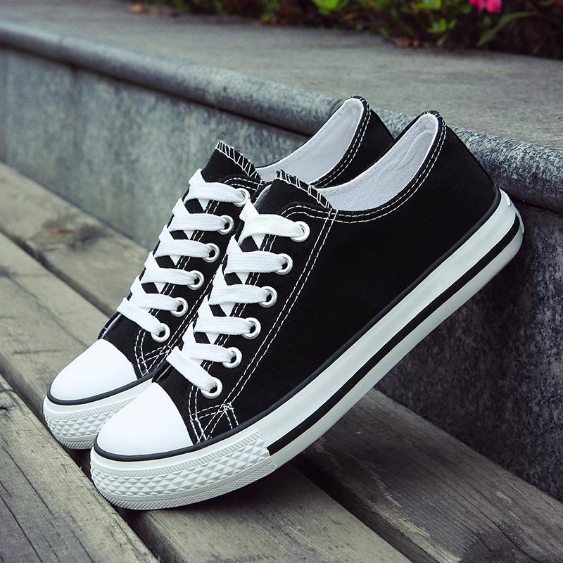 情侣男鞋鞋男低帮鞋子春秋季青年系带学生帆布布鞋休闲鞋平底板鞋