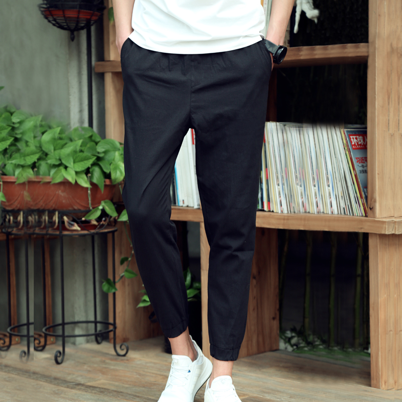 Pants men's summer thin section men's casual pants Korean version of the trend of wild tooling nine points pants feet Slim pants