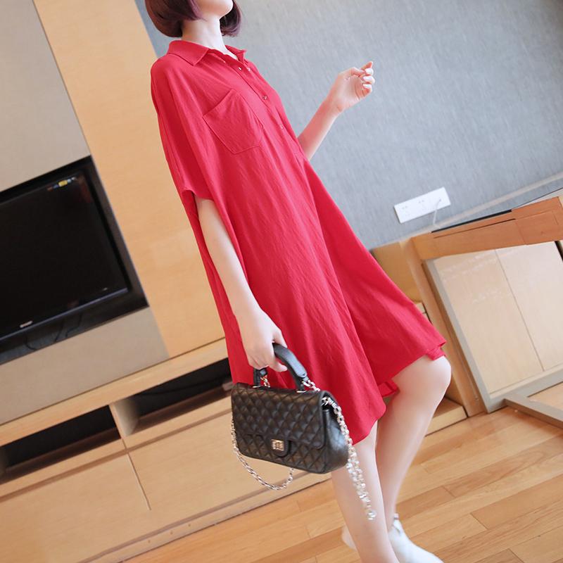 港风衬衣宽松中长款棉麻短袖上衣设计感女小众polo衬衫连衣裙夏季