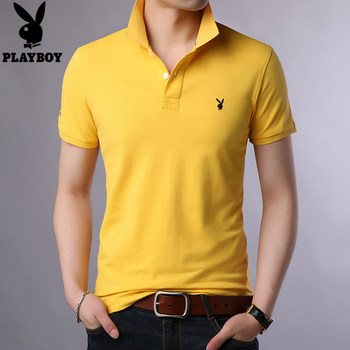 Playboy short-sleeved t-shirt men lapel solid color cotton T-shirt compassionate young men shirt summer loose POLO