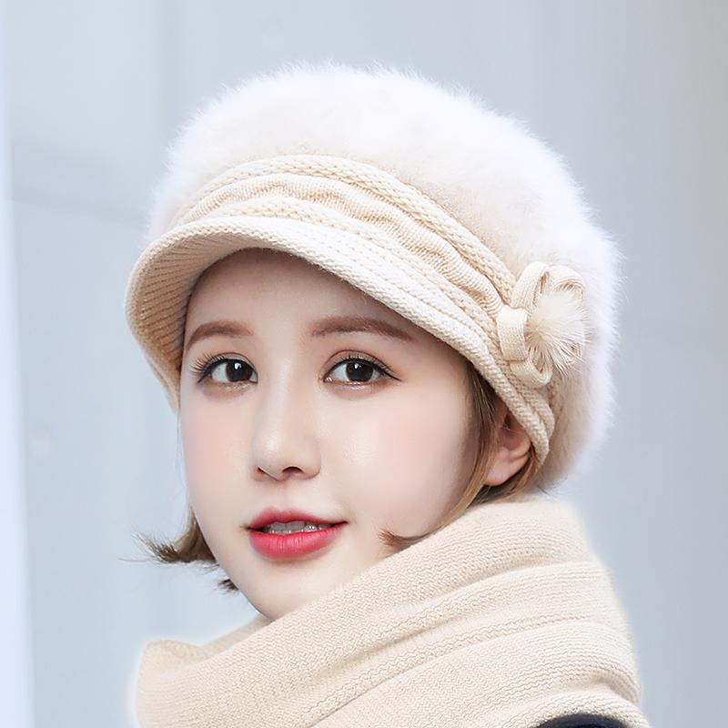 兔毛加绒针织女冬贝雷帽