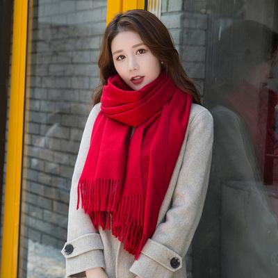 红围巾女冬季年会活动刺绣定制本命年大红色印logo聚会礼品中国红