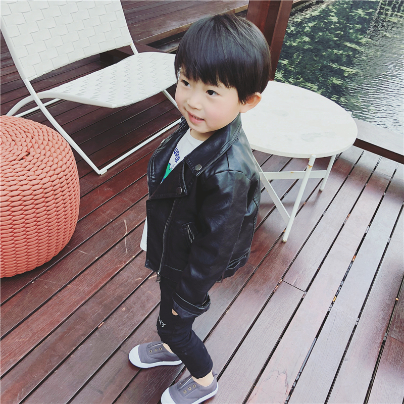 bd022c6e0 USD 22.57  Baby leather jacket 2018 new autumn children s clothing ...