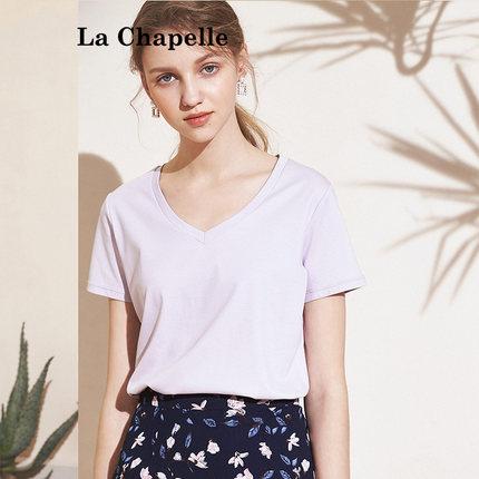 拉夏贝尔纯棉短袖T恤女打底衫女2019新款夏装上衣