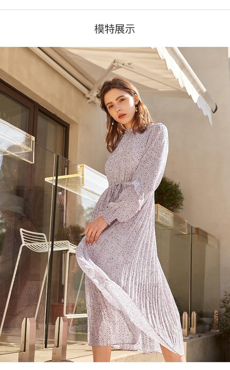 拉夏贝尔夏季新款女装学生衬衫百褶裙子雪纺连衣裙