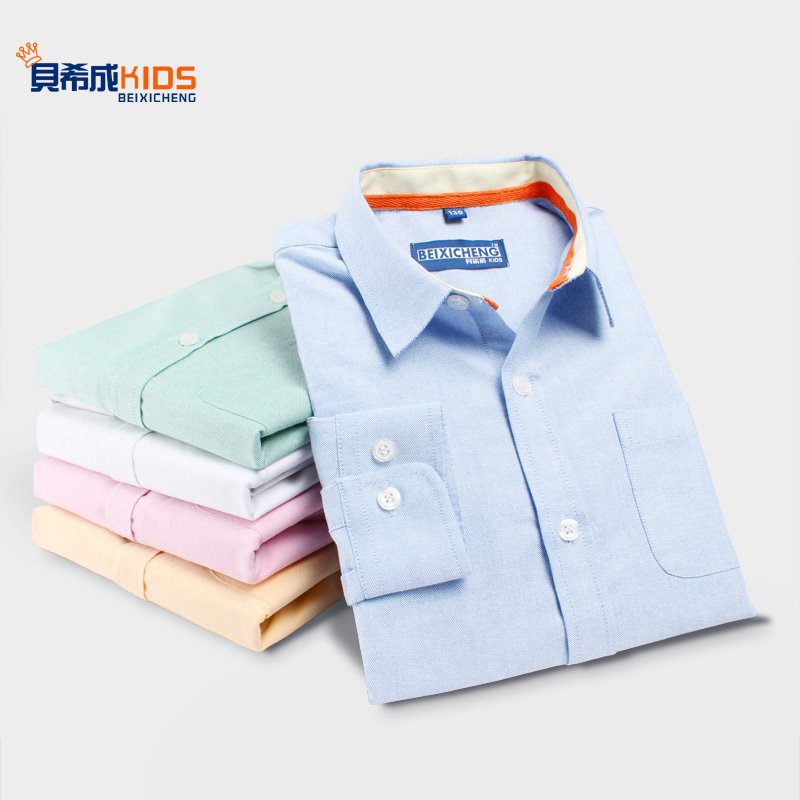 Children's spring new boys cotton long-sleeved shirt in the big children's white lapel Oxford spinning shirt