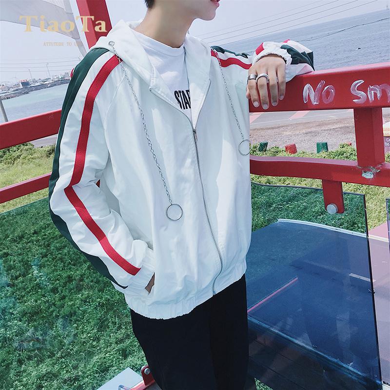 Весна мужской пальто красивый полоса закрытый куртка рубашка корейская волна струиться свободный весна досуг пальто одежда