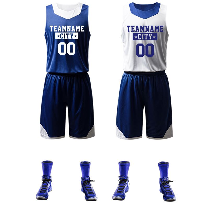 3dbb94be9ba6 Basketball jersey custom basketball clothing printing double-sided male blue  basketball uniforms training jersey suit printing