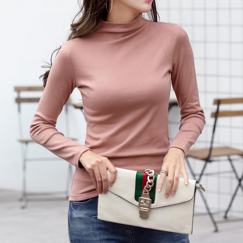 半高领打底衫女长袖t恤纯棉修身加厚紧身上衣内搭2018秋冬新款