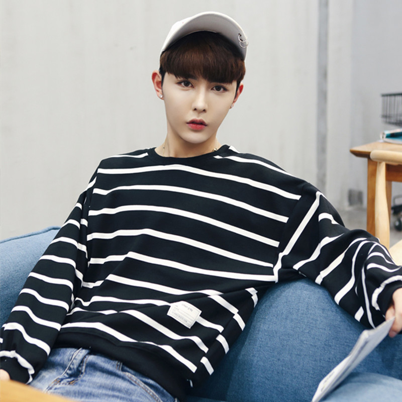 e36716dab Harajuku wind men s striped sweater sweater autumn round neck Korean wild  youth loose trend long-sleeved T-shirt