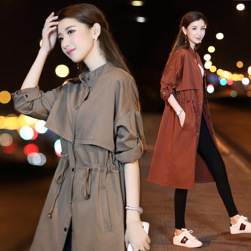 2018 mùa thu mới áo gió nữ Hàn Quốc phiên bản của hoang dã mỏng hàng duy nhất khóa ra khỏi vai tay áo màu eo rắn là áo khoác mỏng thủy triều