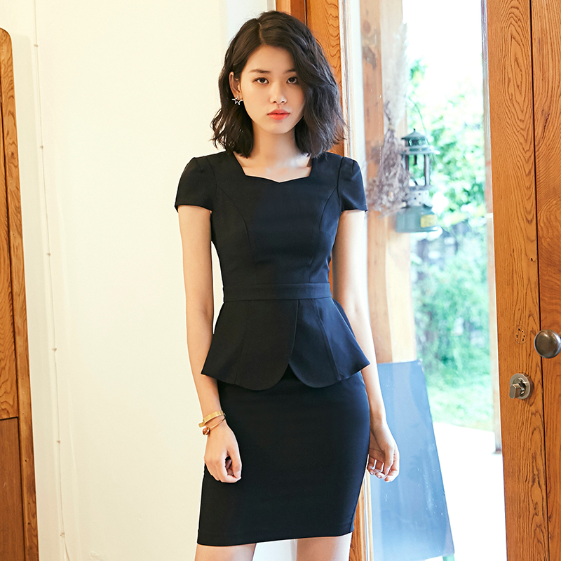 2ffdf26a47 Professional short-sleeved ladies jacket skirt interview dress 2018 summer  New ol fashion slim suit two-piece suit