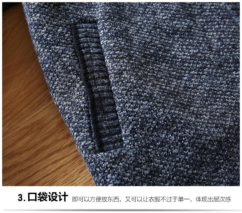 Kích thước lớn mùa thu và mùa đông cổ áo và nhung dây kéo áo len cardigan áo giản dị cao cổ áo dày của người đàn ông áo len áo sơ mi